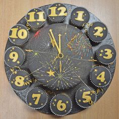 New Year's Eve Clock Cake. To view the tutorial, please visit http://www.craftcompany.co.uk/new-year-s-eve-clock-cake.html