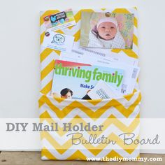 DIY Mail Holder Bulletin Board by The DIY Mommy. I used a cheap cork board, fabric, a glue gun and recycled an ice cream pail! Mail And Key Holder, Mail Holder, Sewing Projects, Diy Projects, House Projects, Sewing Ideas, Diy Back To School, Welcome To My House, Diy Organization