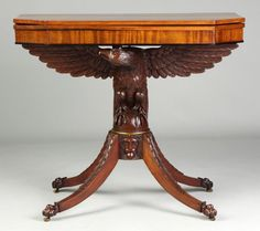 Federal Style Mahogany Card Table With Carved Eagle And Masked Face   c. Mid 19th Century