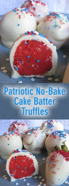 Patriotic No-Bake Cake Batter Truffles - Who Needs A Cape?Patriotic No-Bake Cake Batter Truffles perfect for Memorial Day or July parties!Patriotic No-Bake Cake Batter Truffles - Who Needs A Cape? Patriotic No-Bake Cake Batter Brownie Desserts, Köstliche Desserts, Holiday Desserts, Holiday Treats, Holiday Recipes, Dessert Recipes, Quick Dessert, Light Desserts, Plated Desserts