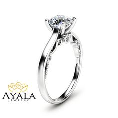 Round Cut Diamond Engagement Ring Unique 14K by AyalaDiamonds