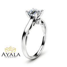 Round Cut Diamond Engagement Ring Unique 14K by AyalaDiamonds
