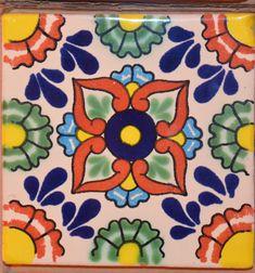 "90 Mexican Talavera Tiles handmade, Hand painted 4 ""X Azulejos Art Nouveau, Art Nouveau Tiles, Mexican Paintings, Pottery Painting Designs, Talavera Pottery, Mexican Art, Mexican Tiles, Tile Art, Ceramic Painting"