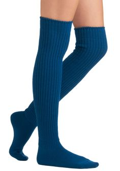 Chic-Kneed Socks in Cerulean by Tabbisocks - Blue, Solid, Knitted, 90s, Winter