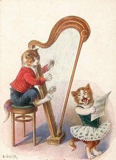 Chat humanisé en Carte postale La harpe par C. Ohler