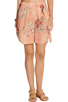 ZimmermannAnais floral-print cotton and silk-blend voile shorts