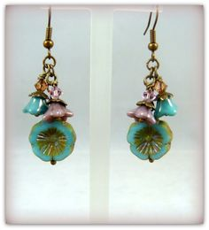 Glass Flower Earrings Turquoise and Lavender by PurplePansy333