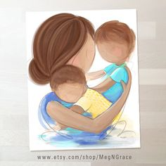 Mother and Sons Wall Art Prints for Boys Room Decor, Nursery Decor, Mother Son Art - Gift World Art And Illustration, Illustrations, Mother Art, Mother And Child, Mom Son, Daughter, Family Wall Art, Art Plastique, Mothers Love