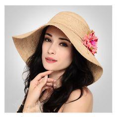 Flower khaki floppy sun hats for women summer UV wide brim straw hat f9b668272fdd