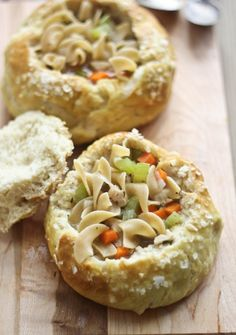 Homemade Chicken Noodle Soup in Salted Pretzel Bread Bowls. So comforting!!