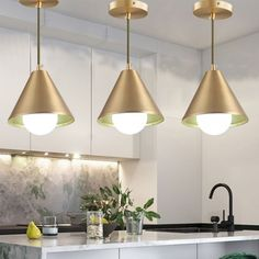 Mid Century Cone Metal Pendant Light Single-Bulb Ceiling Suspension Lamp in Brass over Dining Table - 220V-240V Brass