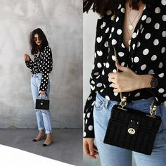 4 Trendy Zara Bags For This Summer - FashionActivation Chic Outfits, Fashion Outfits, Girly Outfits, Fashion Clothes, White Converse Outfits, Polka Dot Shirt, Polka Dots, Zara Shirt, Crop Top Outfits