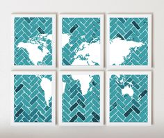 World Map on Chevron In Dark Teal & White in 6 Pieces. $55.00, via Etsy.