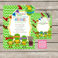 The Ninja Turtle Invitations by PartyPoshPrintables #Turtles #Party #Invitations