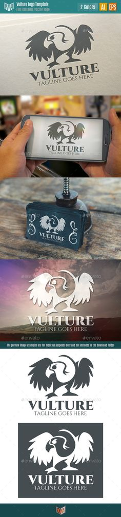 Vulture Logo. Vulture Logo is an animal logo template featuring a vulture formed by the composition of positive and negative spaces, giving a fresh and modern look. It can be used for multiple purposes and different types of businesses, studies, clans, startups, branding, etc.