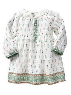Factory mix-print border dress | baby girl