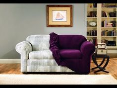 Purple Velvet Living Room Furniture is part of Elegant Home Accessories Couch flash furniture riverstone implosion purple velvet living room setTake a look at the amazing list of 50 most impressive - Diy Sofa Cover, Sofa Covers, Sofa Makeover, Furniture Makeover, Sure Fit Slipcovers, Sofa Couch, Couches, Diy Home Decor Projects, Decor Ideas