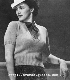 The Vintage Pattern Files: 1930's Knitting - Womens Sweater