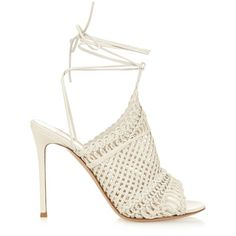 Gianvito Rossi Allyson braided leather sandals (12 920 UAH) ❤ liked on Polyvore featuring shoes, sandals, heels, ivory, woven leather sandals, heeled sandals, wrap sandals, ivory sandals and summer shoes