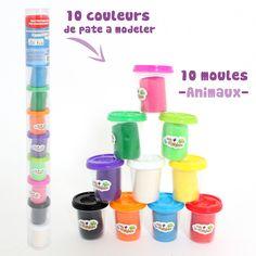 Tube grand format de 10 pots, pour 10 fois plus d'idées et 10 fois plus d'animaux colorés !!! Chaque couvercle se transforme en moule pour former un max d'animaux ! #Maind'Artiste #MGM