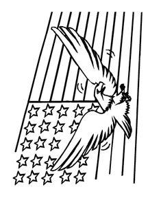 Eagle Flying In Front Of Flag
