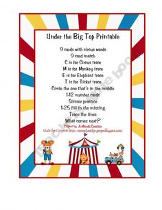 Under the Big Top Preschool Printable (Free)