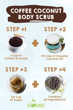 Exfoliate, Tone, and Moisturize Skin with our EASY to make DIY Coffee Coconut Scrub! Only 3 Ingredients required for soft, glowing skin. Homemade Skin Care, Diy Skin Care, Homemade Beauty, Skin Care Tips, Homemade Facials, Skin Tips, Coconut Body Scrubs, Coconut Scrub, Diy Body Scrub