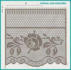 Bordo alto con rose schema filet uncinetto Crochet Lace Edging, Crochet Diy, Crochet Motifs, Crochet Borders, Crochet Home, Crochet Doilies, Crochet Patterns, Irish Crochet, Crochet Curtain Pattern