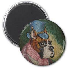 GENTLEMAN BOXER DOG magnet Detail Shop, Boxer Dogs, Dog Portraits, Nursery Wall Art, I Love Dogs, Gentleman, Dog Lovers, Whimsical, Magnets