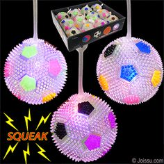 FLASHING SPIKY SOCCER YO-YO BALLS WITH SQUEAKERS. Pick up by the loop and use as a punch ball to activate the flashing LED's inside and hear the squeak as it rebounds. Batteries included. Assorted bright colors. Sorry, no color choice available. Perfect for Christmas stocking stuffers, Easter basket toys, and party favors. Size 3 Inch ball, display unit 11.5 X 9 x 3 inches  BUY 12, GET A FREE DISPLAY UNIT