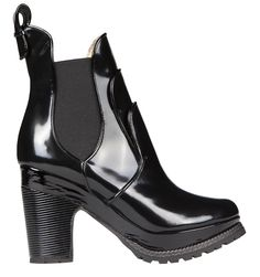 TRIPPLE LINGUAL BLACK ANTIQUE Minna Parikka leather boot rubber rock