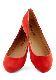 Pop, Skip, and a Jump Flat in Poppy. Add a pop of fresh color to every step you take with these red flats! #red #modcloth