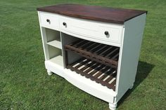 Dresser to Wine Bar Tutorial - Have a butt ugly dresser sitting around? Turn it into a wine bar for all (legal aged people) to enjoy. This project was the resul… Building A Basement, Basement Bar Plans, Basement Bar Designs, Basement Ideas, Black Dressers, Old Dressers, Dresser Bar, Bar Restaurant, Restaurant Interiors