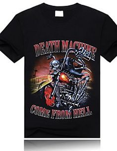 MEN - T-Shirt ( Katun ) Pantai/Kasual/Mungil/Pesta Bulat - Lengan Pendek