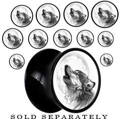 Black Acrylic Howling Wolf Saddle Plug | Body Candy Body Jewelry