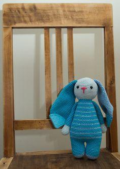 blue bunny with corner teether crochet amigurumi toys