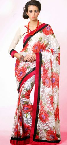 Perfect red and offwhite floral saree: KSR2621