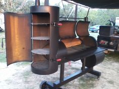 Grill and smoker combo. - Grill and smoker combo. Bbq Smoker Trailer, Bbq Pit Smoker, Barbecue Smoker, Fire Pit Grill, Homemade Smoker Plans, Homemade Grill, Diy Grill, Smoker Designs, Parrilla Exterior