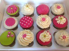 bright pink & green cupcakes