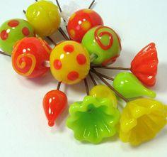 Lampwork glass beads  -  Flamboyant Citrus   -   flower headpins, yellow, orange, tangerine, lime