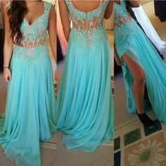 Green A-line lace long prom dress for teens, unique evening dress,backless prom dress, modest prom dress long