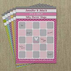 These personalized baby shower bingo cards are PERFECT! I love the Chevron and it comes in any color ... it means so much more when their name is actually on it! #BabyShower #ShowerGames #Baby #chevron