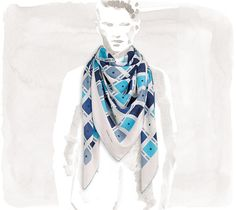 This is the Kea scarf from the men's line but its so pretty to me. Especially since I love blue.~Hermes