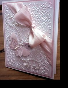 A beautiful and simple card using an embossing folder.  This would make a perfect wedding card.