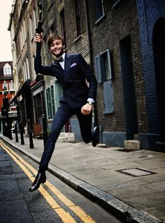 Englishman Douglas Booth in a double-breasted Italian-made suit: a trend that's here to stay.