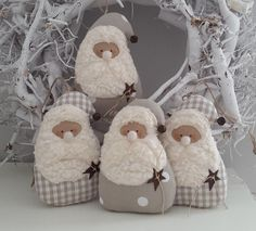 Tree decorations: Cloth - two Santas Christmas Cottage - a designer piece of Feinerlei on DaWanda