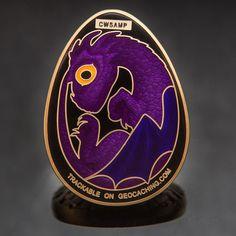 Satin Gold 3D  Dragon Egg  Sample Geocoin - Geocaching - Non Trackable