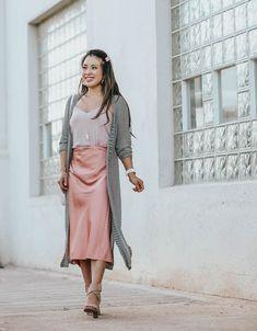 cute & little | dallas petite fashion blog | loft striped long duster cardigan, blush pink silk slip midi skirt | work office business casual outfit
