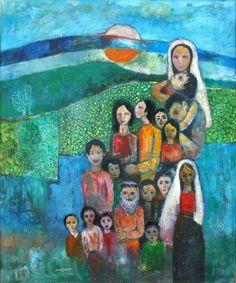 Palestinian Life - by Nabil Anani Palestine Palestine Art, Middle Eastern Art, Painter Artist, World Peace, North Africa, Artist At Work, Photo Art, Street Art, Abstract Art