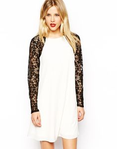 f091f7cd5c2d Love this: Swing Dress with Contrast Lace Sleeves @Lyst Lace Sleeves,  Latest Fashion